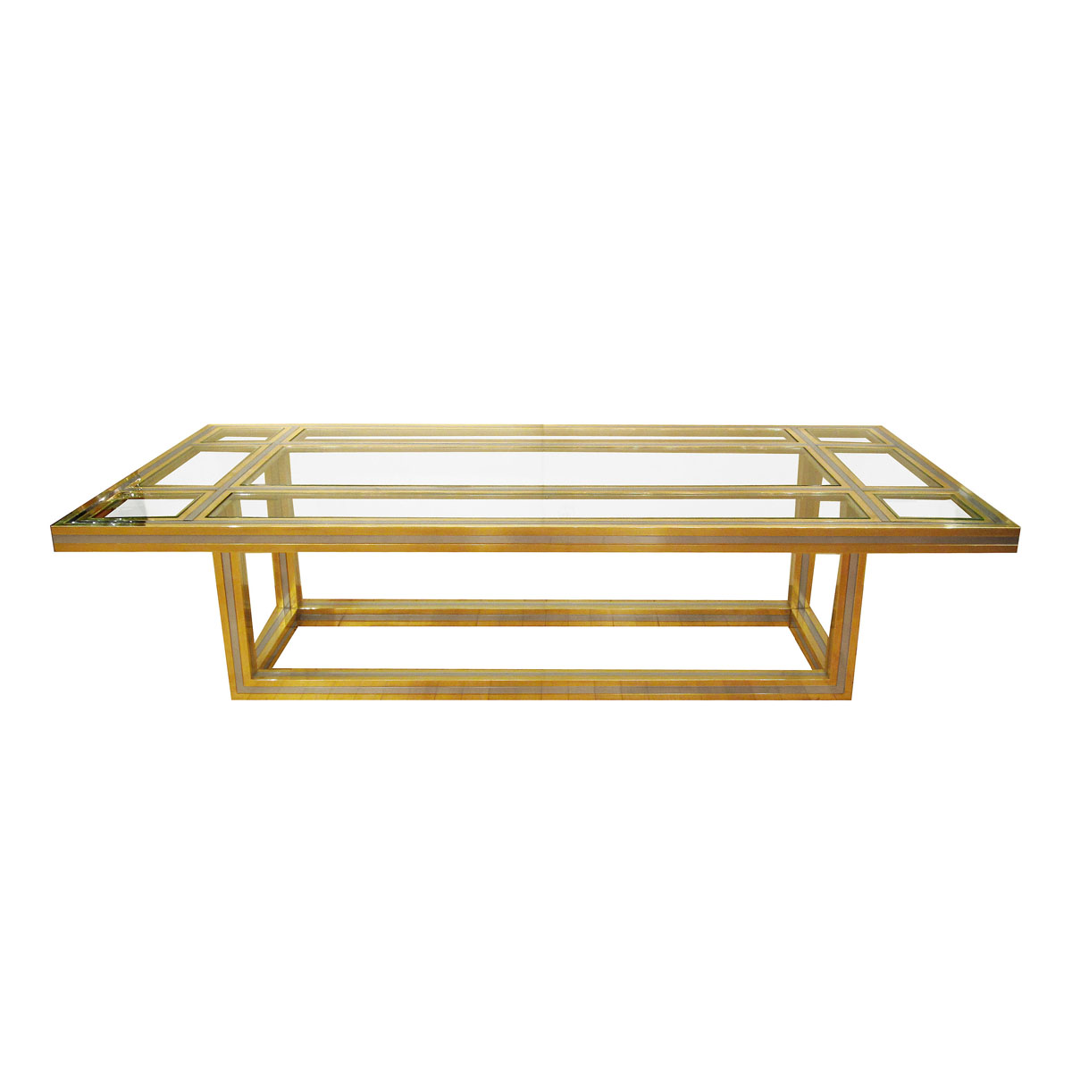 Brass and stainless steel coffee table with glass insets coffee tables john salibello Metal and glass coffee table
