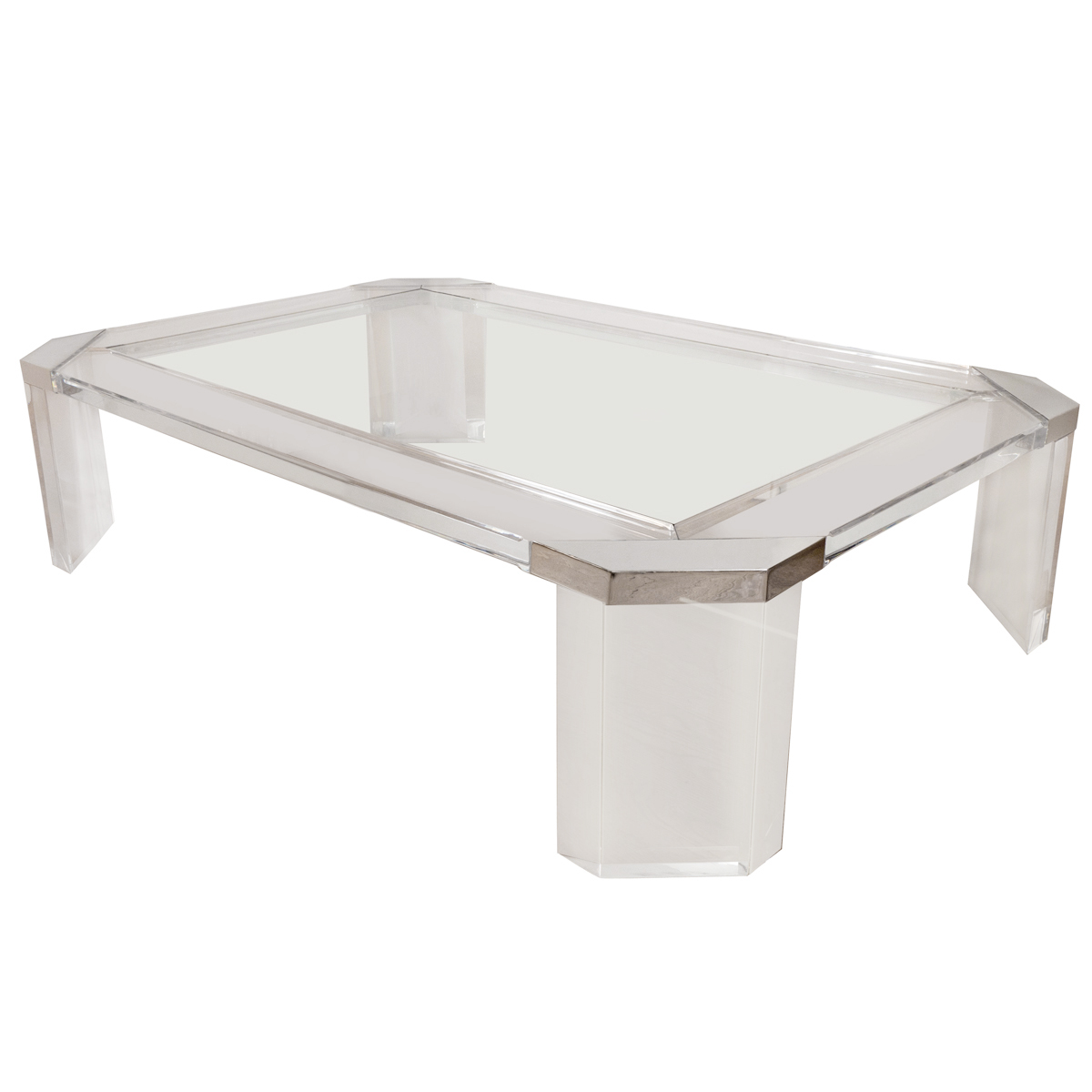 Octagonal Lucite And Glass Coffee Table