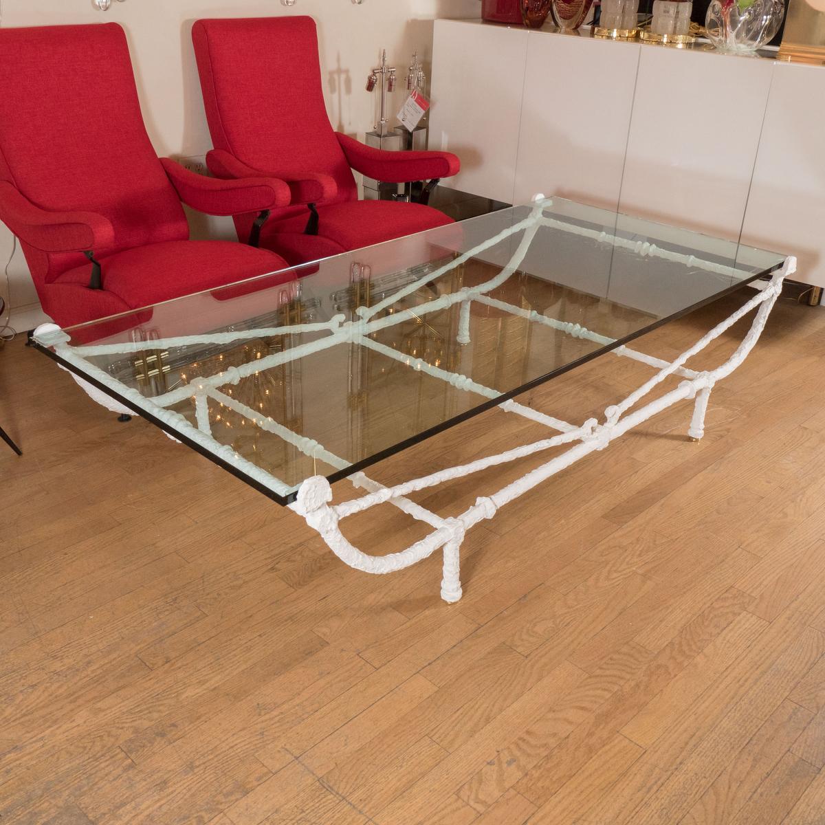 Rectangular White Wrought Iron Coffee Table