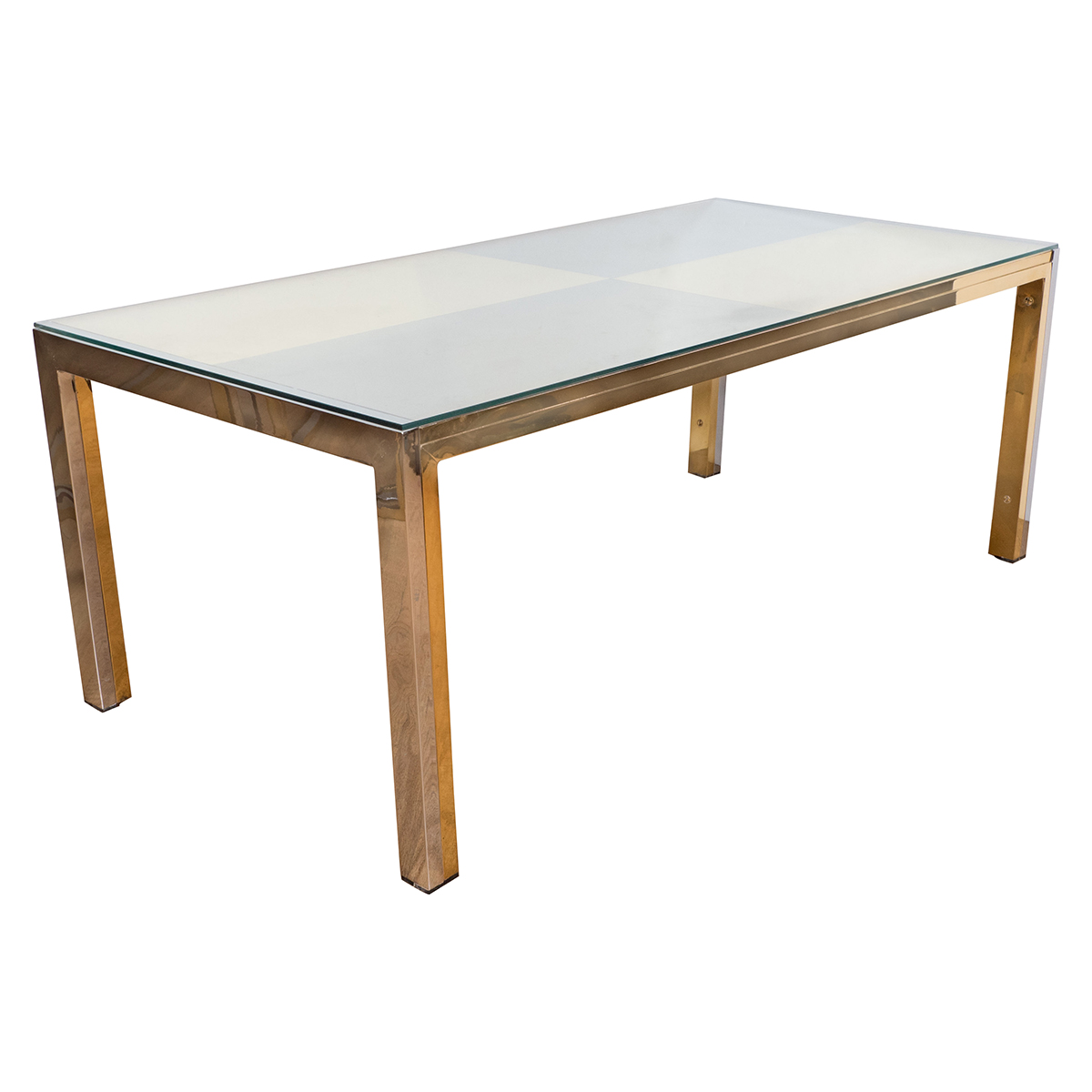 Rectangular Nickel And Brass Coffee Table