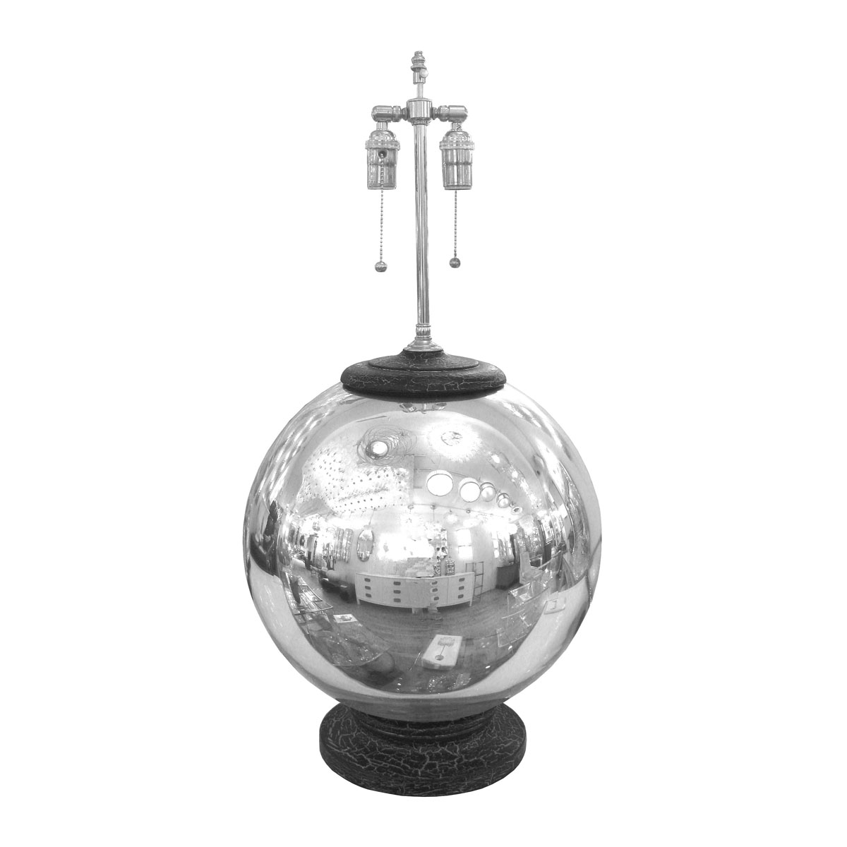 Single Spherical Mercury Glass Lamp With Distressed Black Base And Cap Lamps John Salibello