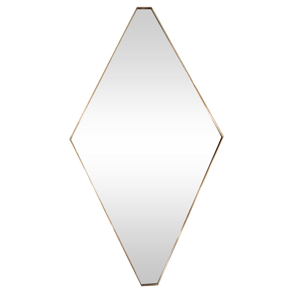 Brass Diamond Shaped Mirror Wall John Salibello