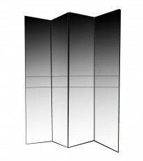 Large scale four panel mirrored screen